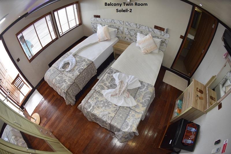 Soleil-2. Upper deck Balcony Twin Cabin